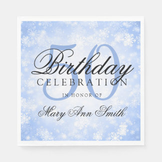 Elegant 50th Birthday Blue Winter Wonderland Disposable Serviette
