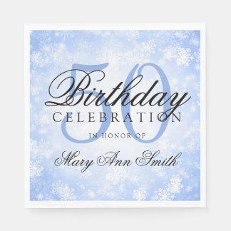 Elegant 50th Birthday Blue Winter Wonderland Paper Napkin