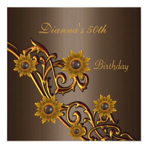 Elegant 50th Birthday Coffee Brown Gold Floral Invites