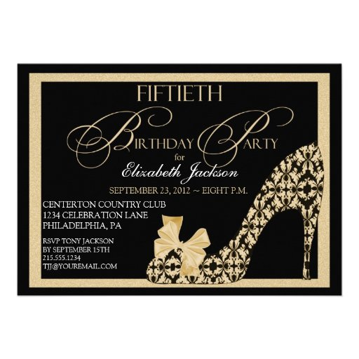 Elegant 50th Birthday Damask Shoe Invitation