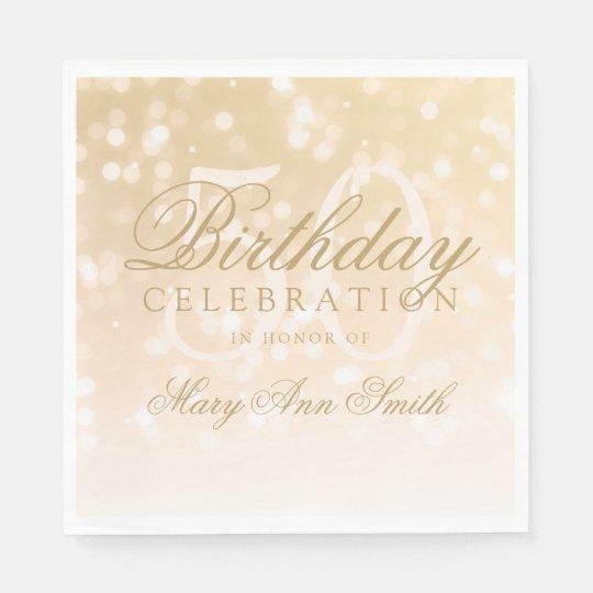 Elegant 50th Birthday Gold Bokeh Sparkle Lights Paper