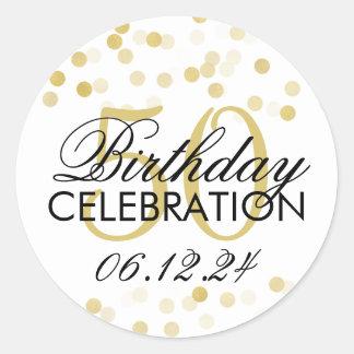 Elegant 50th Birthday Gold Foil Glitter Lights Classic Round Sticker