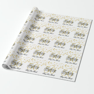 Elegant 50th Birthday Gold Foil Glitter Lights Wrapping Paper
