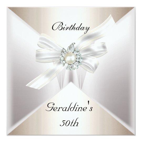 Elegant 50th Birthday Invite Pearl White Beige