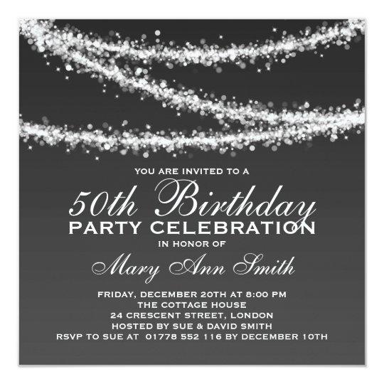 Elegant 50th Birthday Party Black String Lights Card