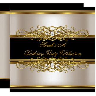 Elegant 50th Birthday Party Cream Gold Black Card