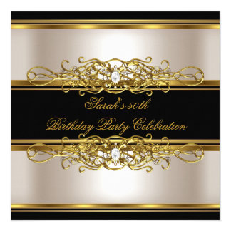 Elegant 50th Birthday Party Cream Gold Black 13 Cm X 13 Cm Square Invitation Card