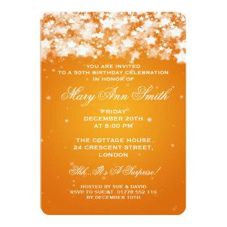 Elegant 50th Birthday Party Dazzling Stars Orange Card