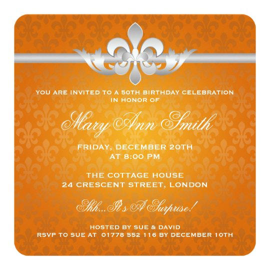 Elegant 50th Birthday Party Fleur De Lis Orange