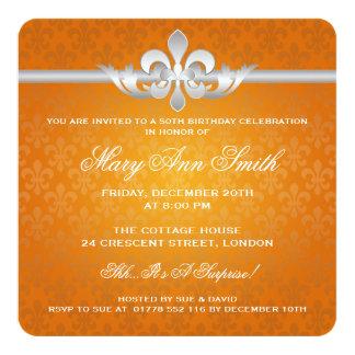 Elegant 50th Birthday Party Fleur De Lis Orange 13 Cm X 13 Cm Square Invitation Card
