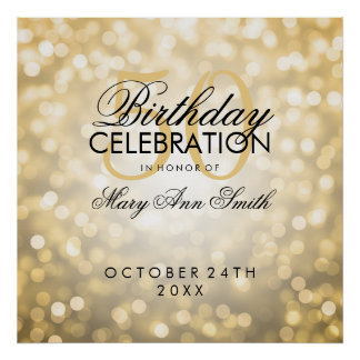 Elegant 50th Birthday Party Glitter Lights Gold Poster