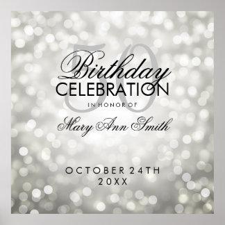 Elegant 50th Birthday Party Glitter Lights Silver Poster