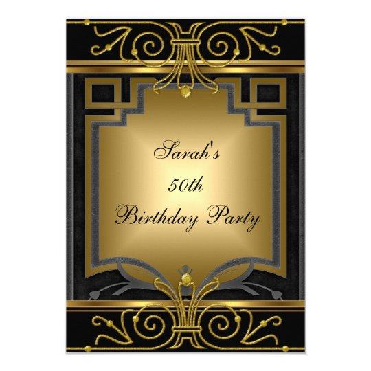 Elegant 50th Birthday Party Gold Black Art Deco