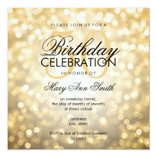 Elegant 50th Birthday Party Gold Glitter Lights 13 Cm X 13 Cm Square Invitation Card