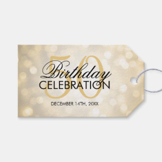 Elegant 50th Birthday Party Gold Glitter Lights Gift Tags