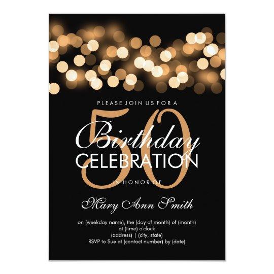 Elegant 50th Birthday Party Gold Hollywood Glam Card Zazzlecouk