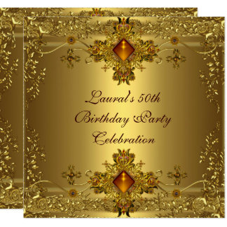 Elegant 50th Birthday Party Gold Lace Gold Jewel Card