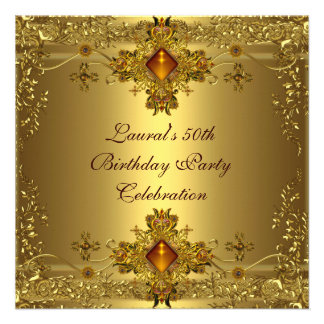 Elegant 50th Birthday Party Gold Lace Gold Jewel Announcement