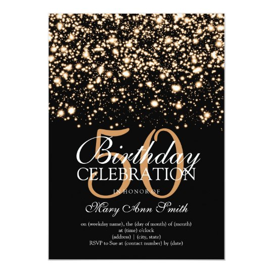 Elegant 50th Birthday Party Gold Midnight Glam Card