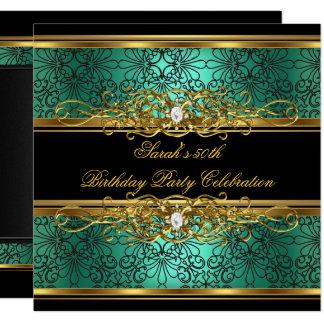 Elegant 50th Birthday Party Jade Green Gold Damask Card