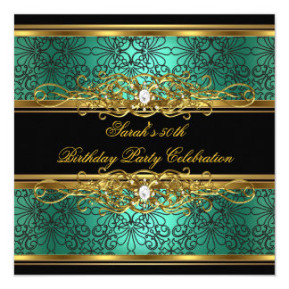 Elegant 50th Birthday Party Jade Green Gold Damask 5.25x5.25 Square Paper Invitation Card