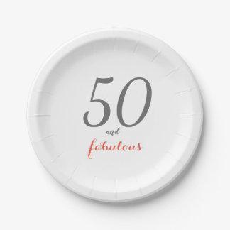 Elegant 50th Birthday Party Paper Plates