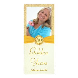 "Elegant 50th Birthday Party Photo Invitations 4"" X 9.25"" Invitation Card"