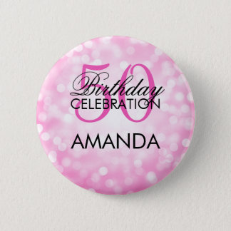 Elegant 50th Birthday Party Pink Glitter Lights 6 Cm Round Badge