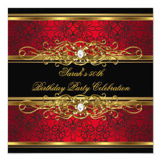 Elegant 50th Birthday Party Red Black Gold Damask 13 Cm X 13 Cm Square Invitation Card