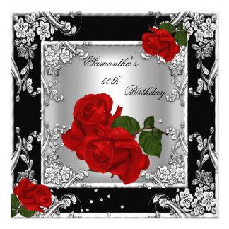 Elegant 50th Birthday Party Red Rose Silver 13 Cm X 13 Cm Square Invitation Card