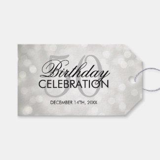 Elegant 50th Birthday Party Silver Glitter Lights Gift Tags