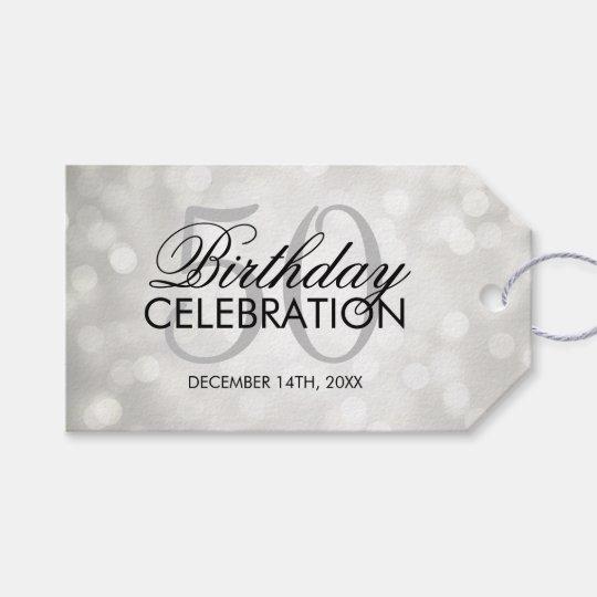 Elegant 50th Birthday Party Silver Glitter Lights Gift