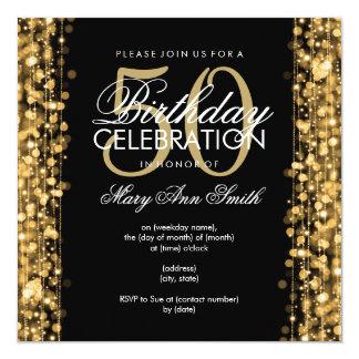 Elegant 50th Birthday Party Sparkles Gold 13 Cm X 13 Cm Square Invitation Card