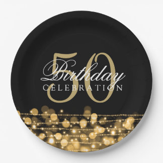 Elegant 50th Birthday Party Sparkles Gold 9 Inch Paper Plate
