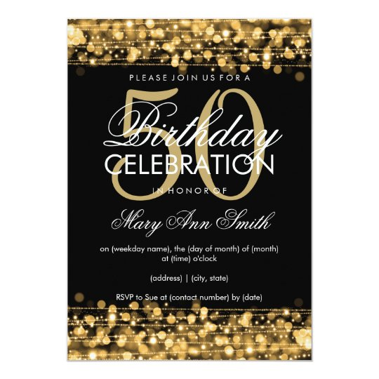Elegant 50th Birthday Party Sparkles Gold Card