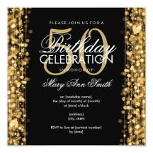"Elegant 50th Birthday Party Sparkles Gold 5.25"" Square Invitation Card"