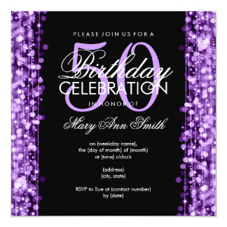 Elegant 50th Birthday Party Sparkles Purple 13 Cm X 13 Cm Square Invitation Card