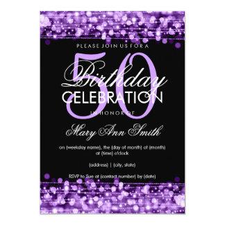 Elegant 50th Birthday Party Sparkles Purple 13 Cm X 18 Cm Invitation Card