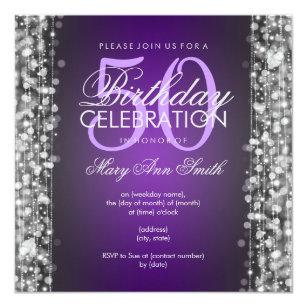 Elegant 50th Birthday Party Sparkles Purple Silver Invitation