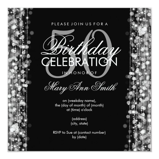 Elegant 50th Birthday Party Sparkles Silver Card
