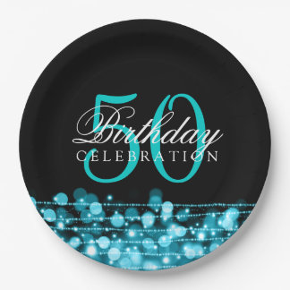 Elegant 50th Birthday Party Sparkles Turquoise 9 Inch Paper Plate