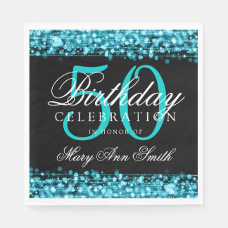 Elegant 50th Birthday Party Sparkles Turquoise Paper Serviettes