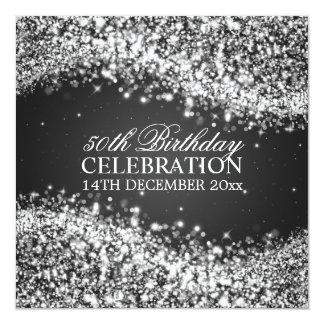 Elegant 50th Birthday Party Sparkling Wave Black 13 Cm X 13 Cm Square Invitation Card