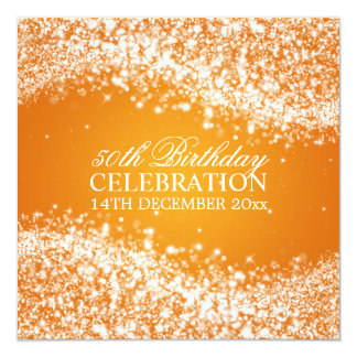 Elegant 50th Birthday Party Sparkling Wave Orange 13 Cm X 13 Cm Square Invitation Card