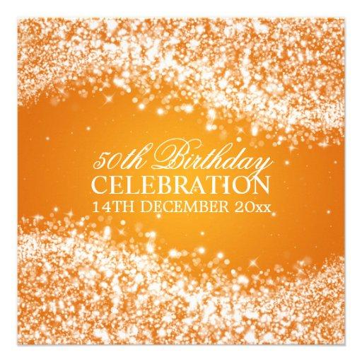 Elegant 50th Birthday Party Sparkling Wave Orange Custom Announcement
