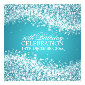 Elegant 50th Birthday Party Sparkling Wave Turquoi Card
