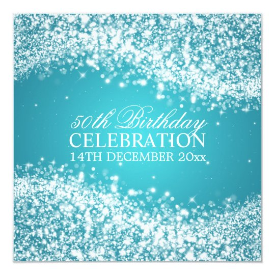 Elegant 50th Birthday Party Sparkling Wave Turquoi Card