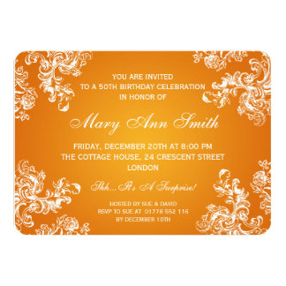 Elegant 50th Birthday Party Vintage Swirls 2 Orang 4.5x6.25 Paper Invitation Card