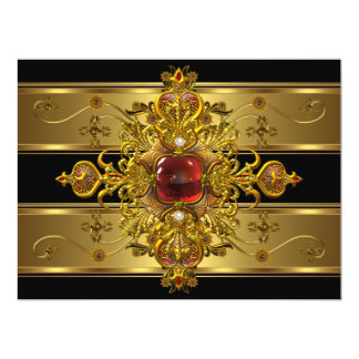 Elegant 50th Birthday Rich Gold Black Red Jewel Card