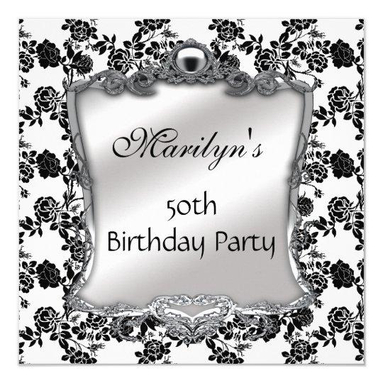 Elegant 50th Birthday Silver Black White Fl 13 Cm X 13 Cm Square Invitation Card